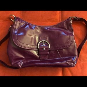 Coach purple patent leather shoulder bag